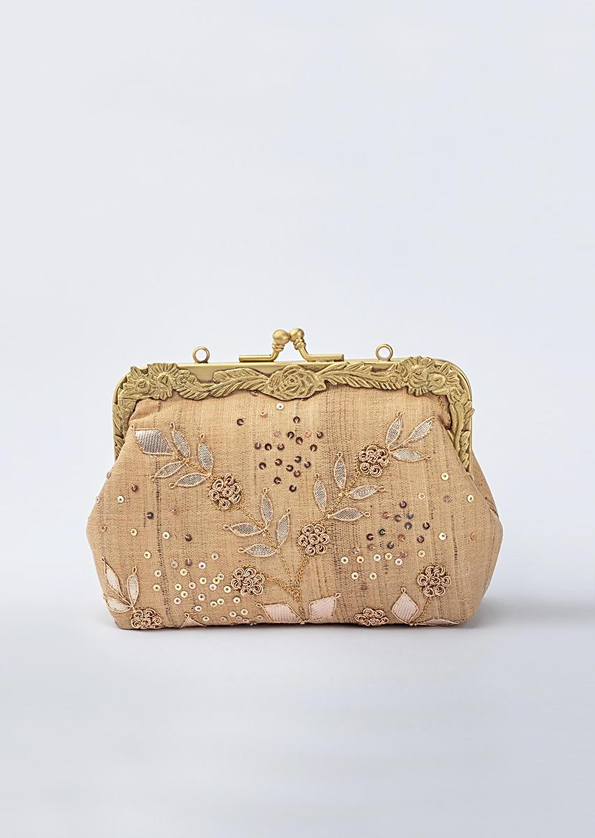 Beige Clutch In Silk With Golden French Knot Flowers Along With Gotta Work By Vareli Bafna
