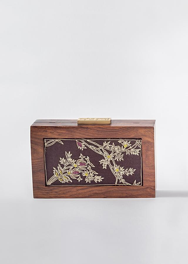 Brown Box Clutch In Cotton Satin With Nature Inspired Print And Golden Zari Work By Vareli Bafna