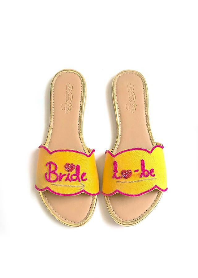 Yellow Slider Flats With Fuchsia Pink Colored Bride To Be Text And Scalloped Edge Online By Sole House