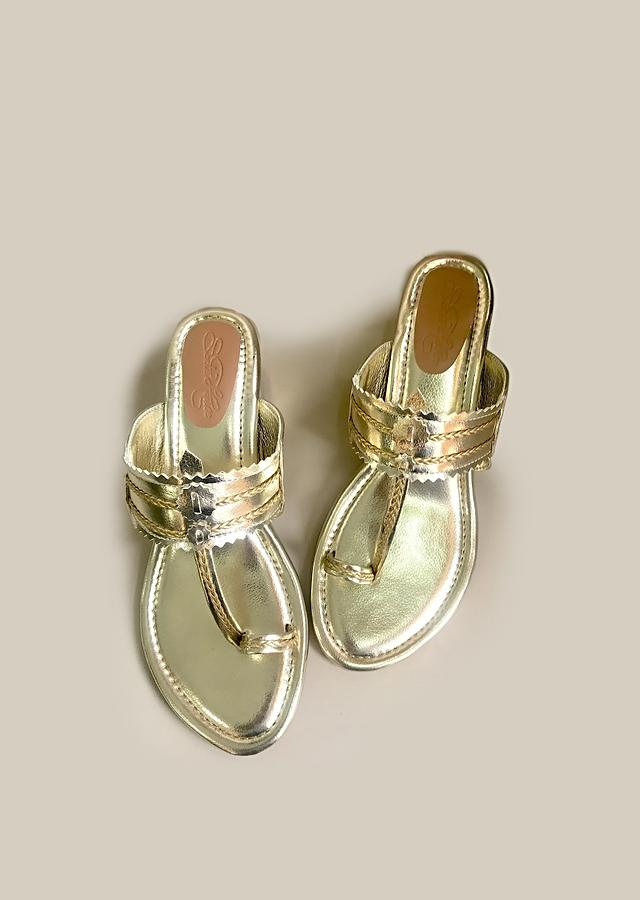 Gold Kolhapuris With Block Heel And Braded Design By Sole House