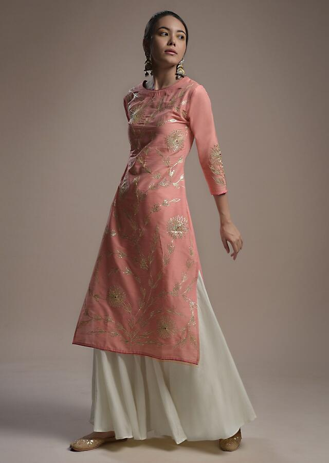 Punch Pink Straight Cut Kurti In Cotton Silk With Gotta Lace And Thread Embroidered Floral Jaal Online - Kalki Fashion