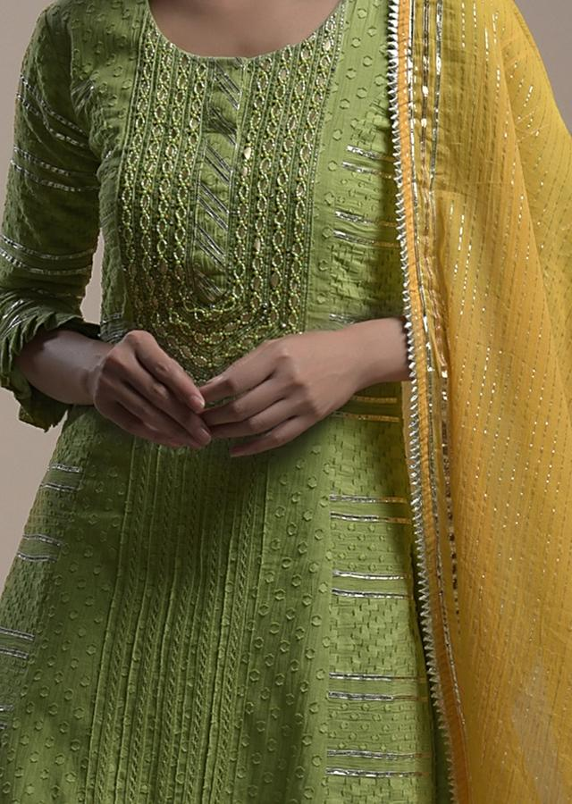 Grass Green Straight Cut Suit In Cotton With Woven Geometric Motifs And Gotta Embroidery Online - Kalki Fashion