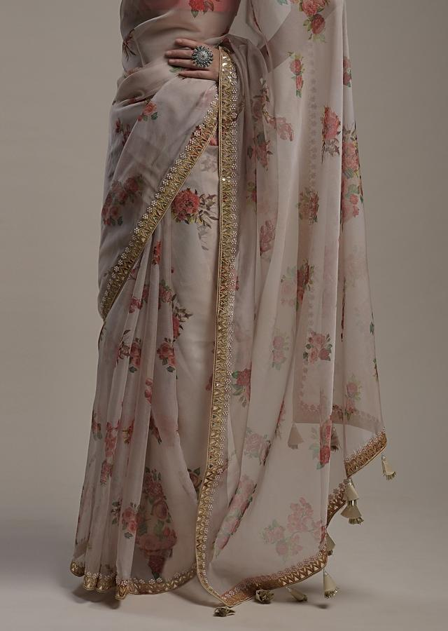 Beige Saree In Organza With Floral Print And Gotta Work On The Border Along With Unstitched Blouse Online - Kalki Fashion