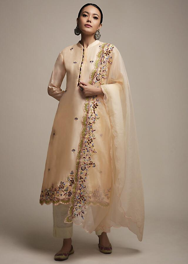 Creamy Peach Kurti Set In Cotton With Colorful Thread And Zardosi Embroidered Floral Design On The Border And Butti Work Online - Kalki Fashion