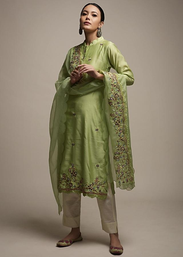 Pastel Green Kurti Set In Cotton With Colorful Thread And Zardosi Embroidered Floral Design On The Border And Butti Work Online - Kalki Fashion