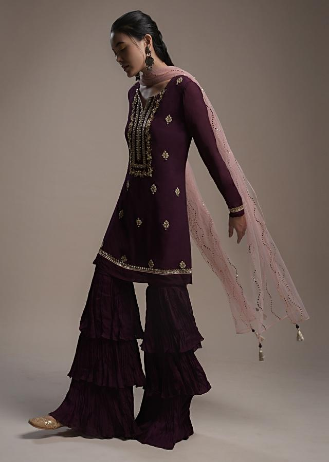 Wine Sharara Suit In Crepe With Colorful Beads And Gotta Patti Embroidered Buttis And Yoke Design Online - Kalki Fashion