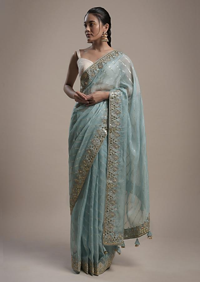 Maya Blue Saree In Organza With Lurex Stripes And Gotta Patti Border Along With Unstitched Blouse Online - Kalki Fashion