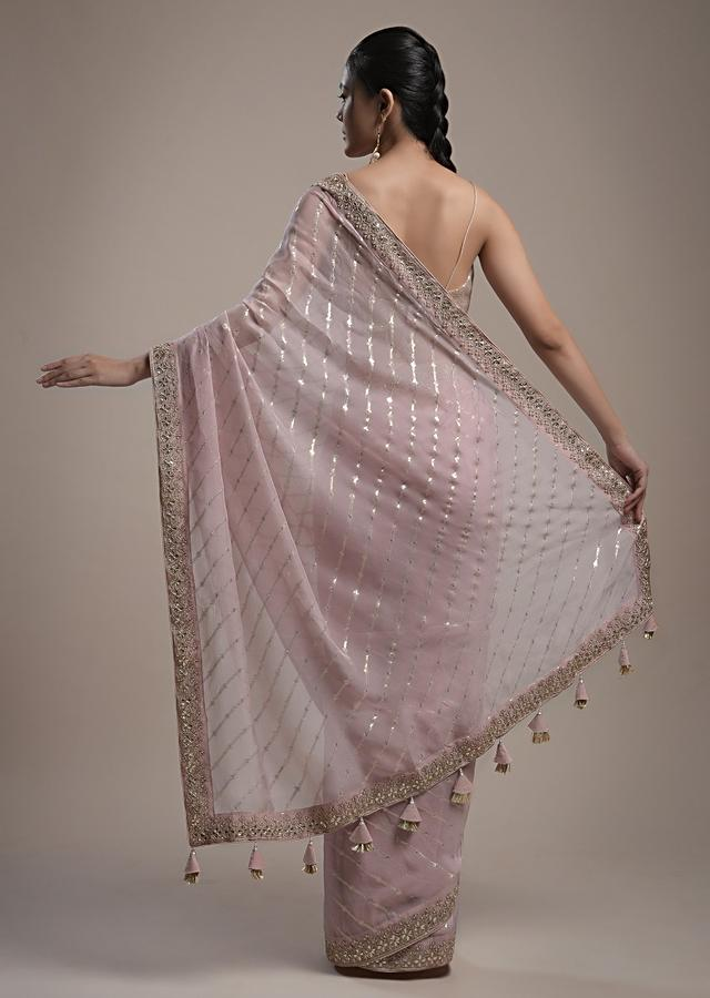 Onion Pink Saree In Organza With Lurex Stripes And Gotta Border Along With Unstitched Blouse Online - Kalki Fashion