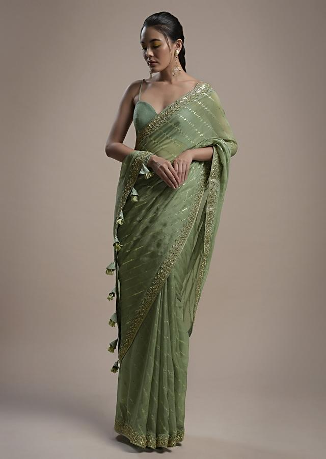 Sage Green Saree In Organza With Lurex Stripes And Gotta Border Along With Unstitched Blouse Online - Kalki Fashion