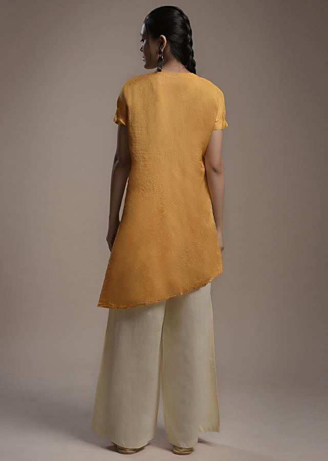 Ochre Yellow Kurti And Palazzo Set In Crushed Crepe With Thread Embroidered Hand Work And Diagonal Placket Online - Kalki Fashion