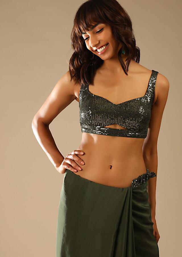Olive Green Saree In Crepe With Sequins Ruffle On The Border, Sequins Blouse With Front Cut Out And Embellished Belt Online - Kalki Fashion