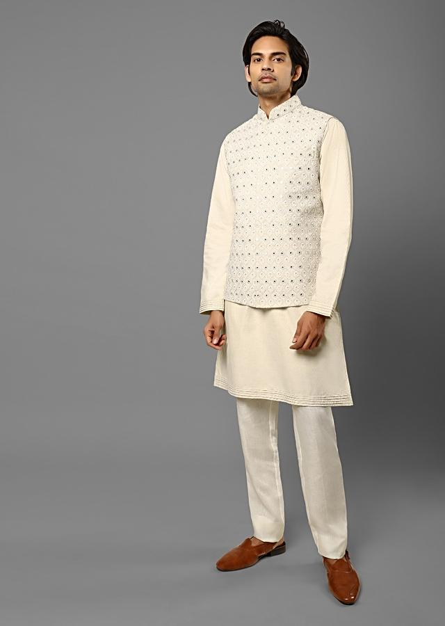 Ivory Nehru Jacket And Kurta Set In Jute Cotton With Lucknowi Thread Embroidered Moroccan Jaal And Mirror Detailing Online - Kalki Fashion