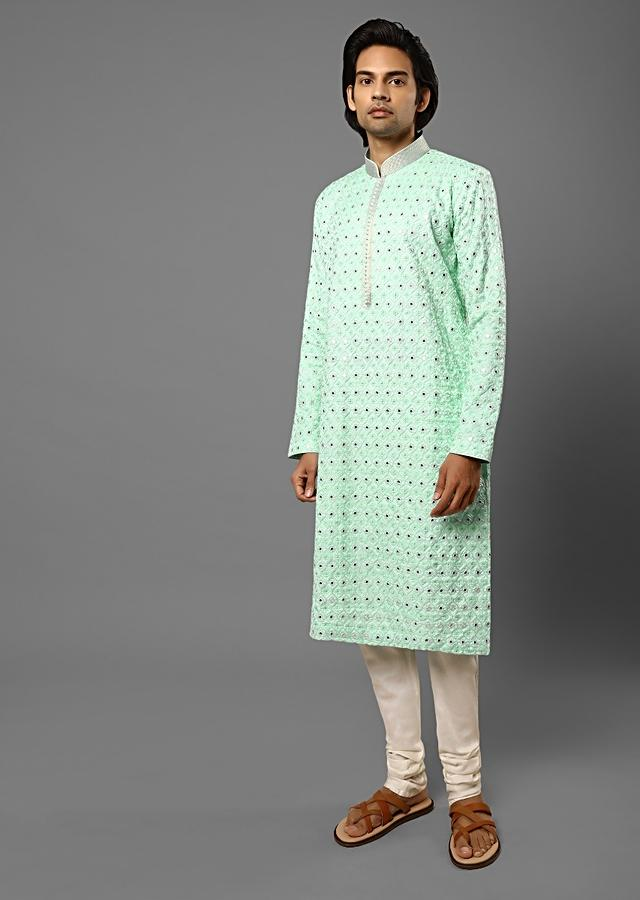 Mint Kurta Set In Raw Silk With Lucknowi Thread Embroidered Moroccan Jaal And Mirror Detailing Online - Kalki Fashion