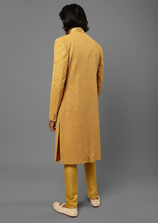 Mustard Sherwani In Georgette With Lucknowi Thread And Sequins Embroidered Moroccan Jaal Design Online - Kalki Fashion