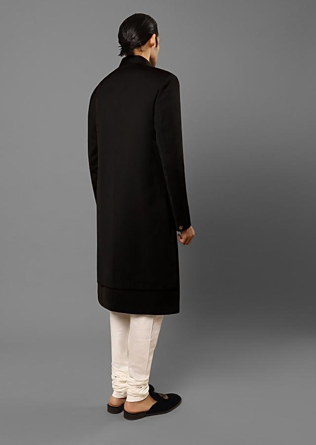 Black Sherwani With An Off Centre Placket Lined In Metallic Buttons And Red Thread Embroidered Running Stitch Detailing Online - Kalki Fashion