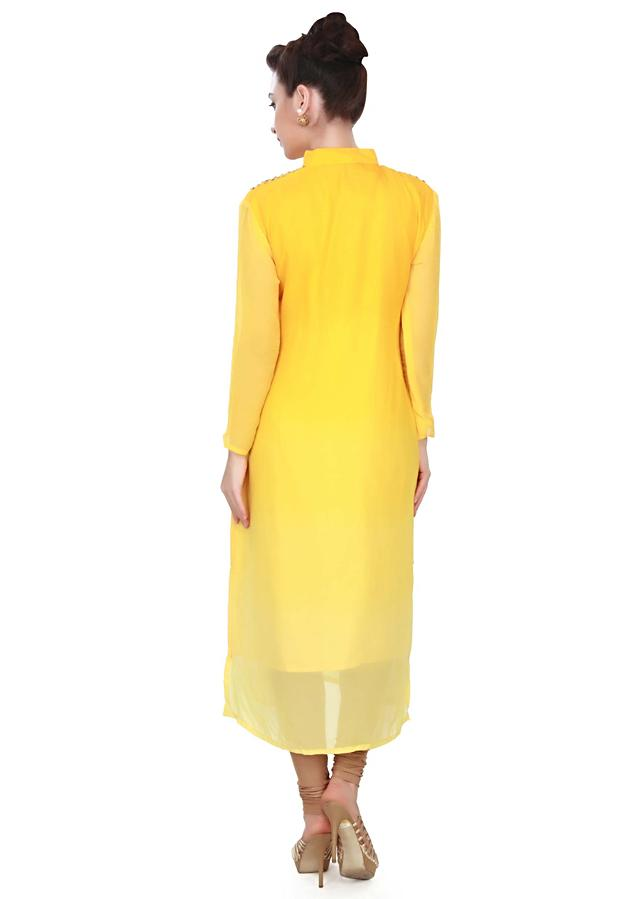 Shaded kurti featuring in yellow  with sequin only on Kalki
