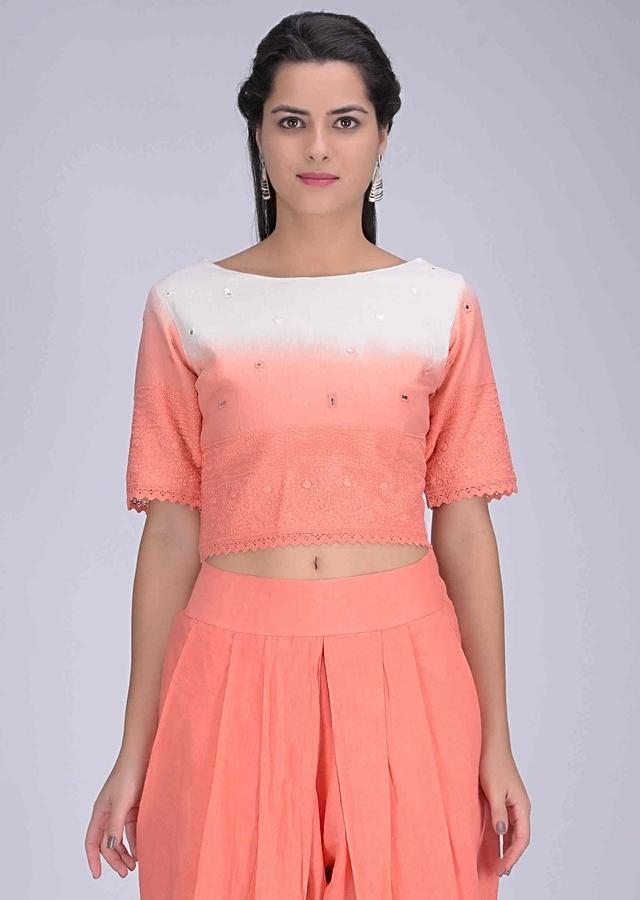 Shaded Lei Flower Peach Crop Top And Dhoti Set In Cotton Online - Kalki Fashion