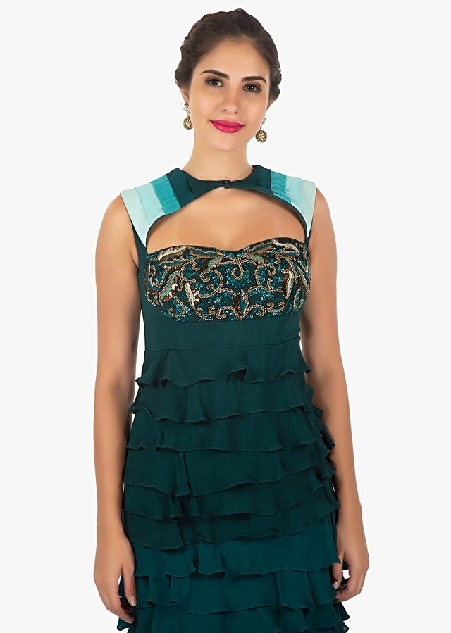 Teal Layered Gown With Shaded Effect Embellished With Sequins And Cut Dana Online - Kalki Fashion