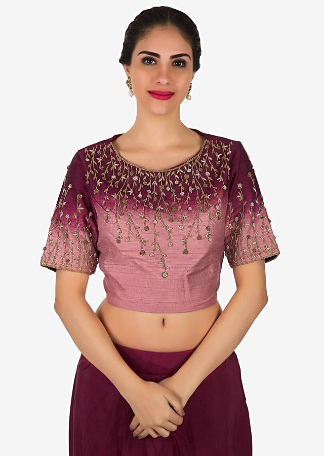 Maroon Shaded Crop Top In Sequin Embroidery Matched With Dhoti Pants Online - Kalki Fashion