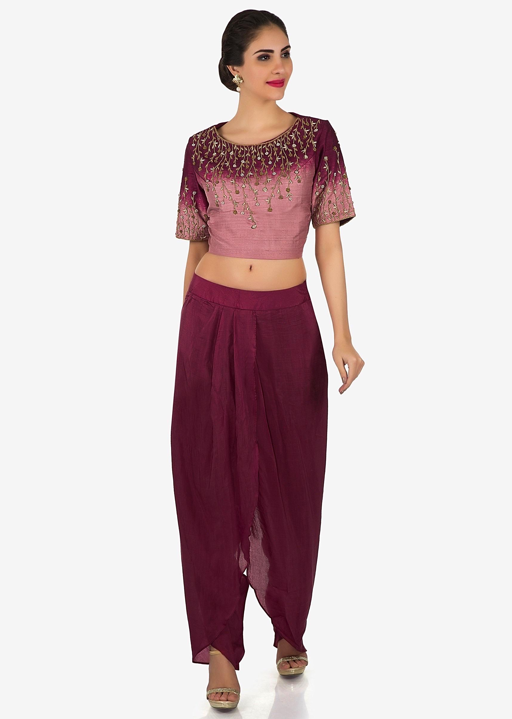 2ac6512b8de Shaded crop top in sequin embroidery matched with dhoti pants only on  KalkiMore Detail