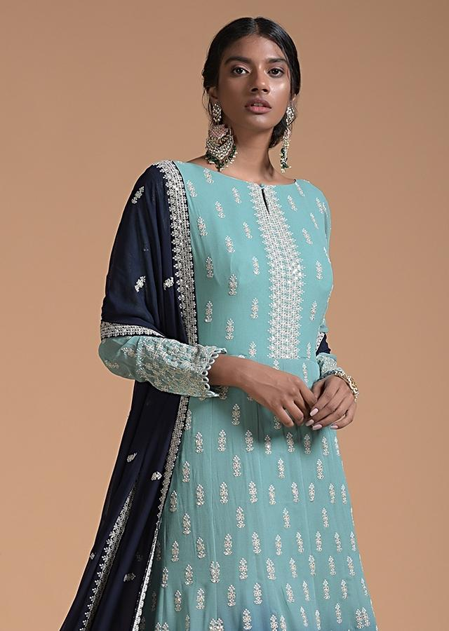 Shadow Green And Navy Blue Ombre Anarkali Suit With Lucknowi Thread Embroidered Buttis Online - Kalki Fashion