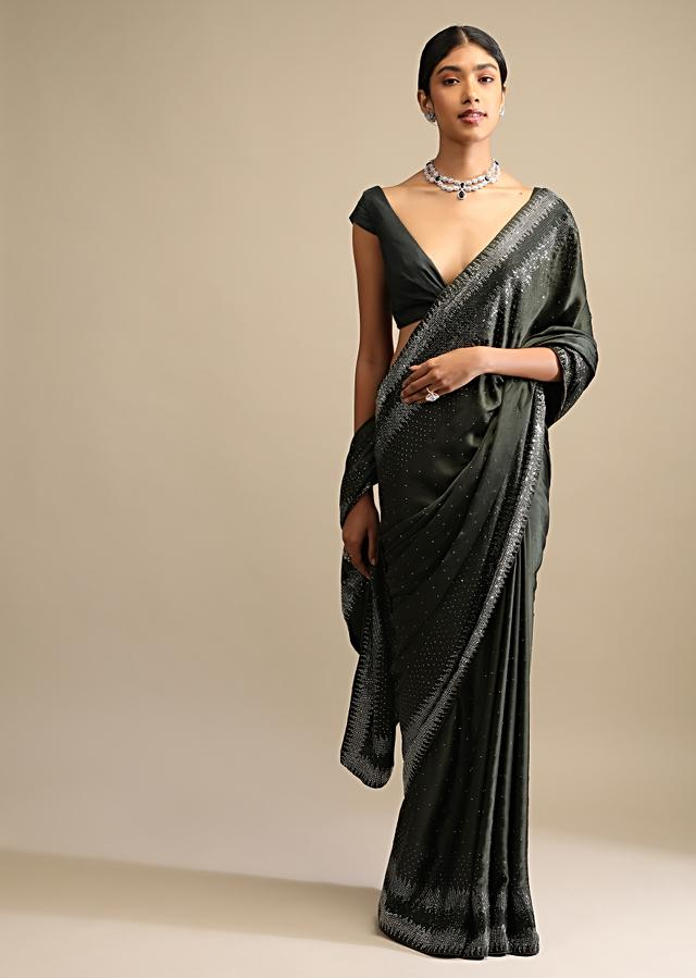 Shadow Green Saree In Satin With Scattered Sequins And Heavy Embellished Border Online - Kalki Fashion