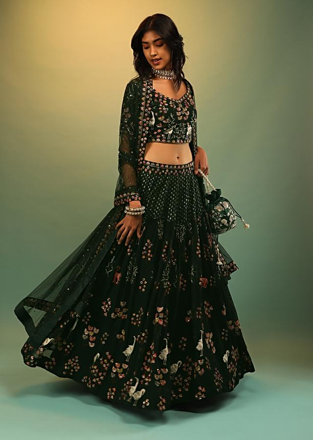 Shadow Green Skirt And Crop Top With Multi Colored Resham And Sequins Embroidered Floral And Animal Motifs Online - Kalki Fashion