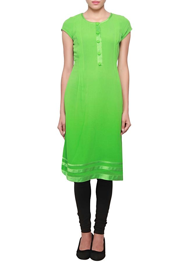 Shamrock green kurti featuring in georgette with satin pleats and piping only on kalki