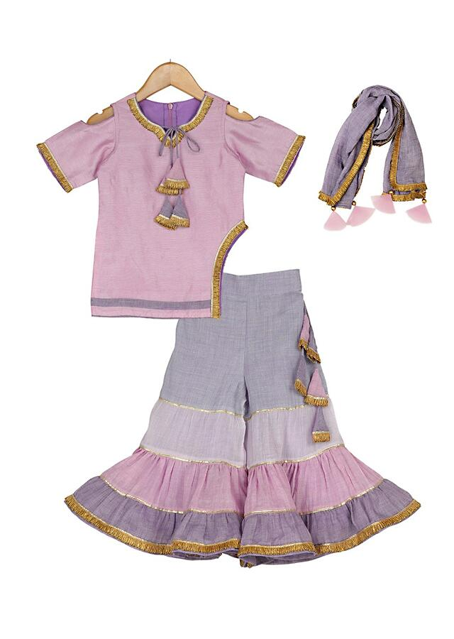 Sharara Suit In Hues Of Lilac With Cold Shoulder Sleeves Online - Free Sparrow