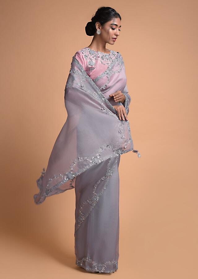 Shark Grey Saree In Organza With Embellished Semi Circles On The Border Online - Kalki Fashion