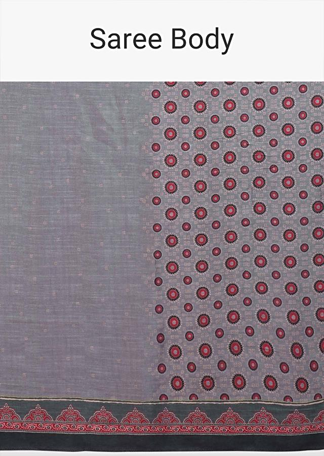 Shark Grey Saree With Printed Buttis And Floral And Geometric Jaal Online - Kalki Fashion