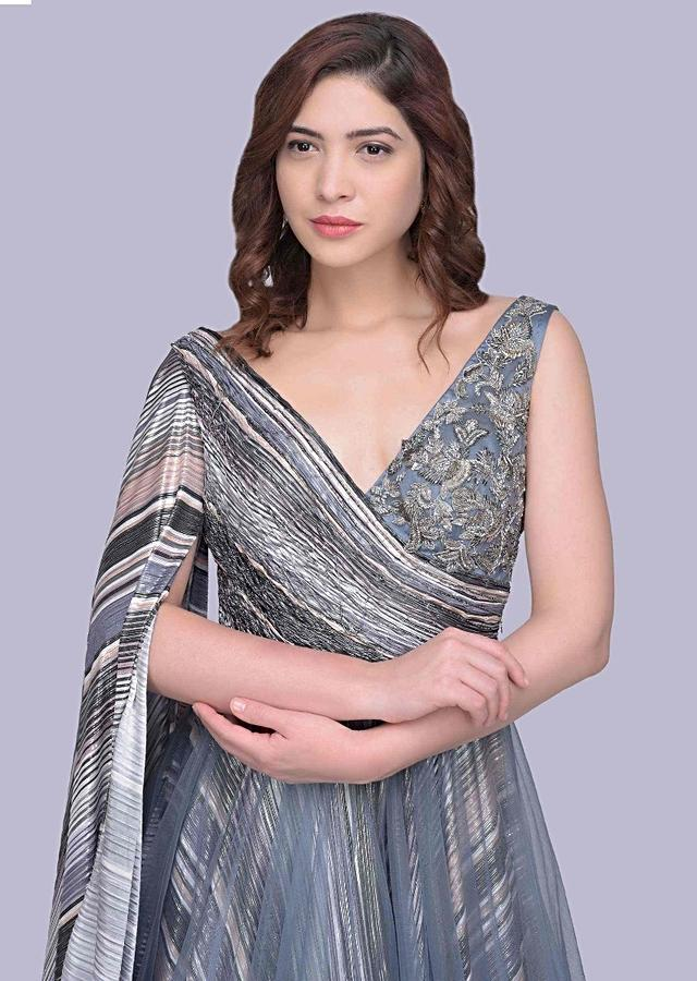 Grey Gown In Sheer Net With Ruched Bodice And One Side Long Flared Sleeves Online - Kalki Fashion