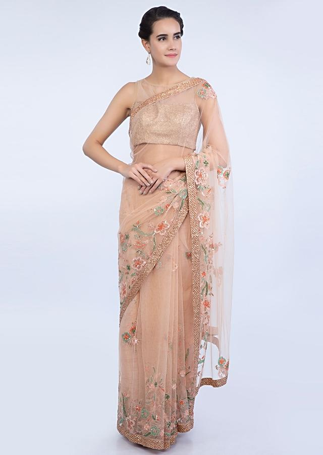 Peach Saree In Sheer Net With Floral Embroidered Buttis And Border Online - Kalki Fashion