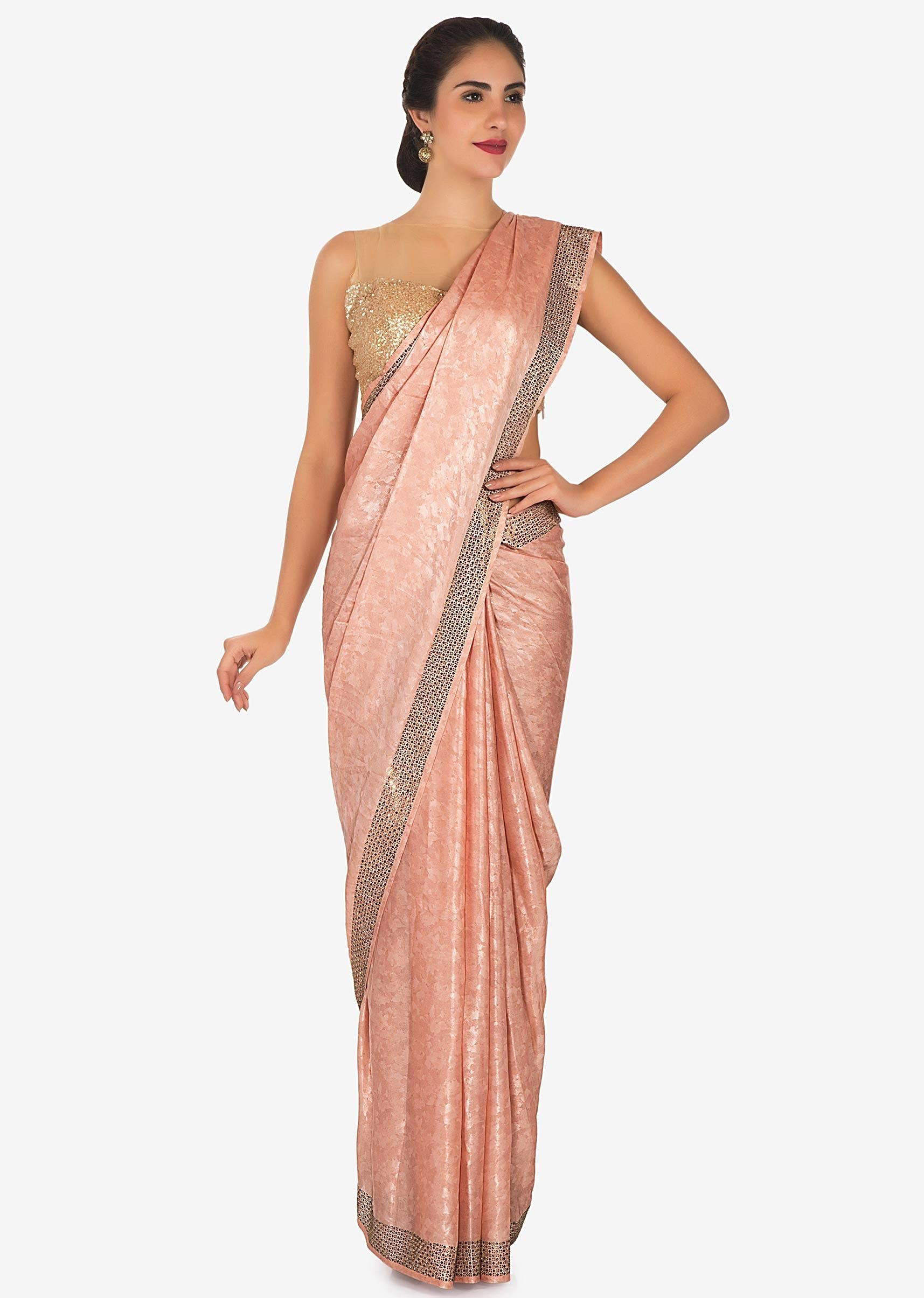 50fbedf293d31 Shimmer pink saree adorn in kundan and thread work only on Kalki