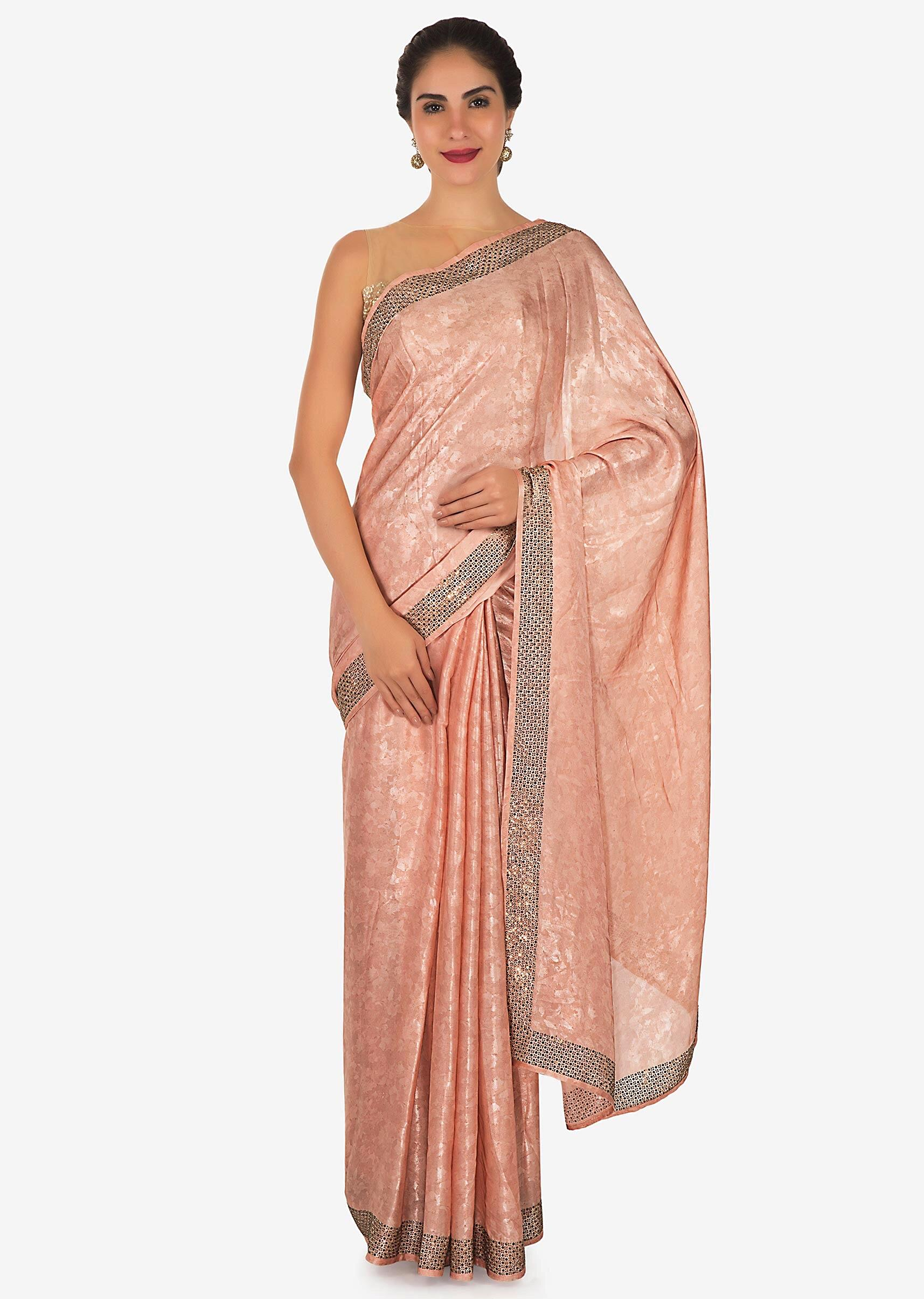 dbfca9bff06e9 Shimmer pink saree adorn in kundan and thread work only on KalkiMore Detail