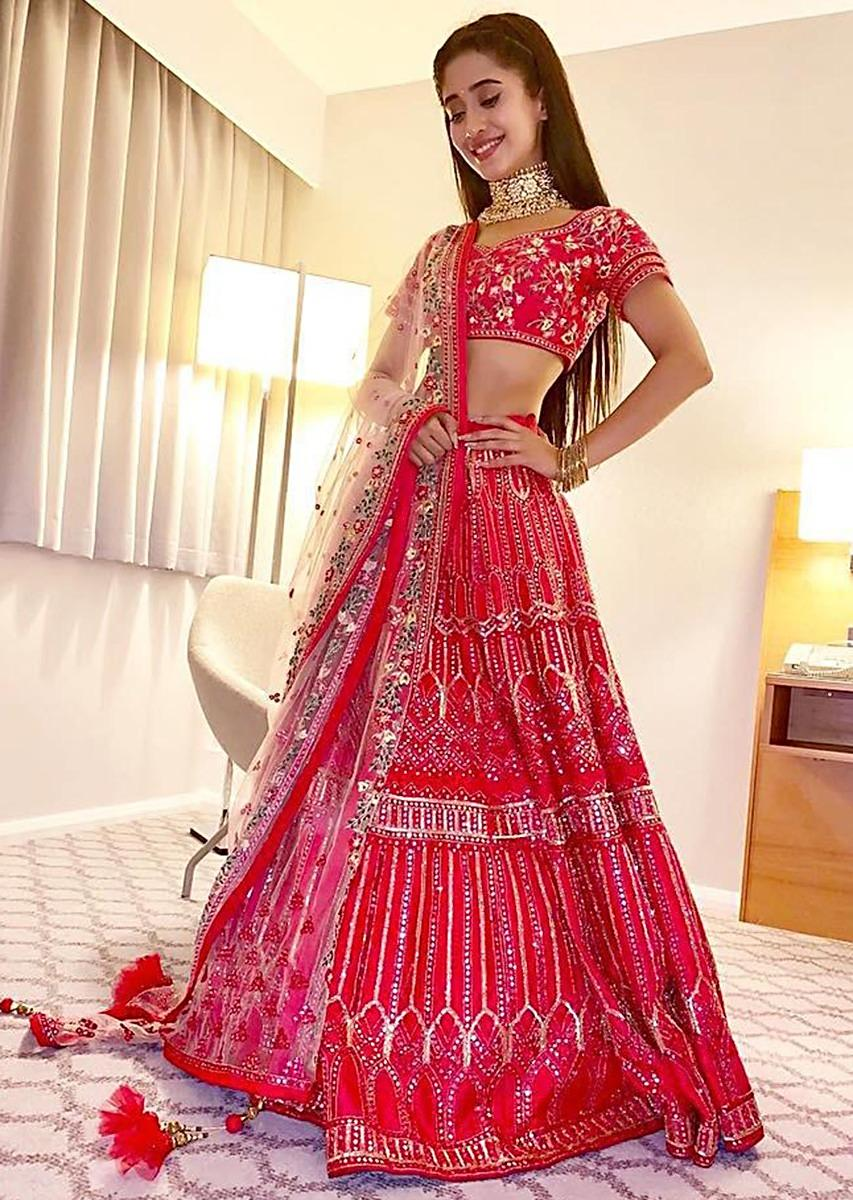 Shivangi Joshi in Kalki rani pink mirror embroidered lehenga set
