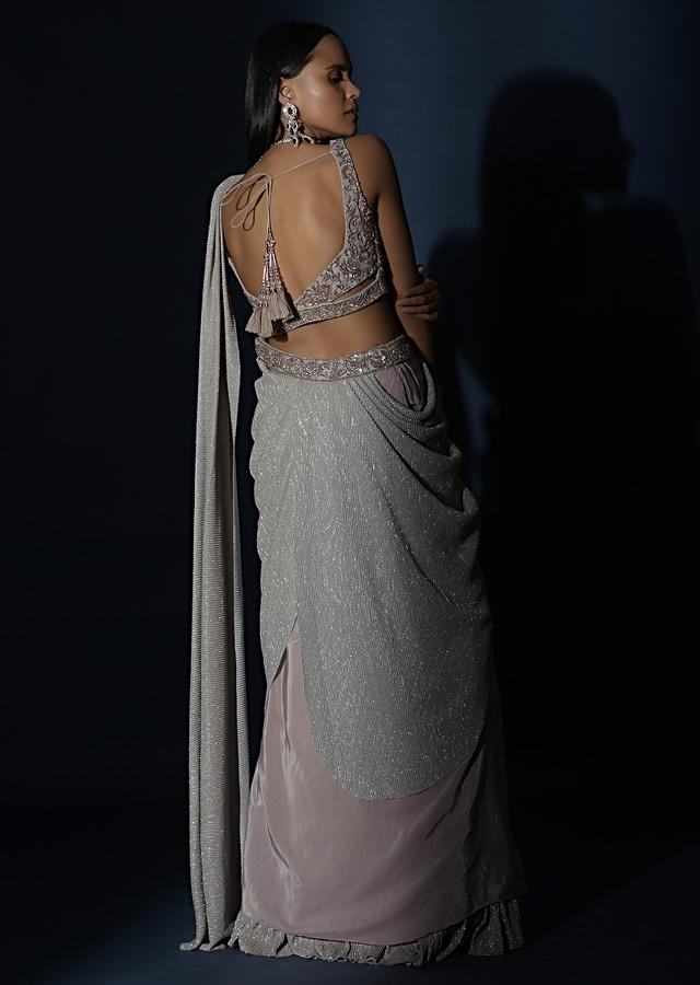 Champagne Ready Pleated Saree With Crushed Shimmer Pallu And Ruffled Hemline
