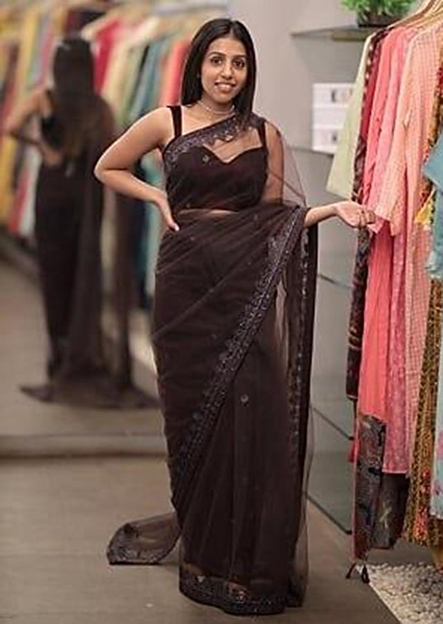 Plum Purple Saree In Net With Embellished Buttis And Border Online - Kalki Fashion