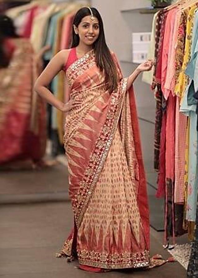 Beige And Red Saree With Ikkat Weaved Patola Pattern Online - Kalki Fashion