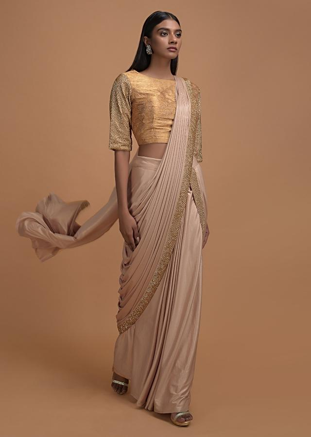 Shrimp Beige Ready Pleated Saree In Shimmer With Embroidered Blouse Online - Kalki Fashion