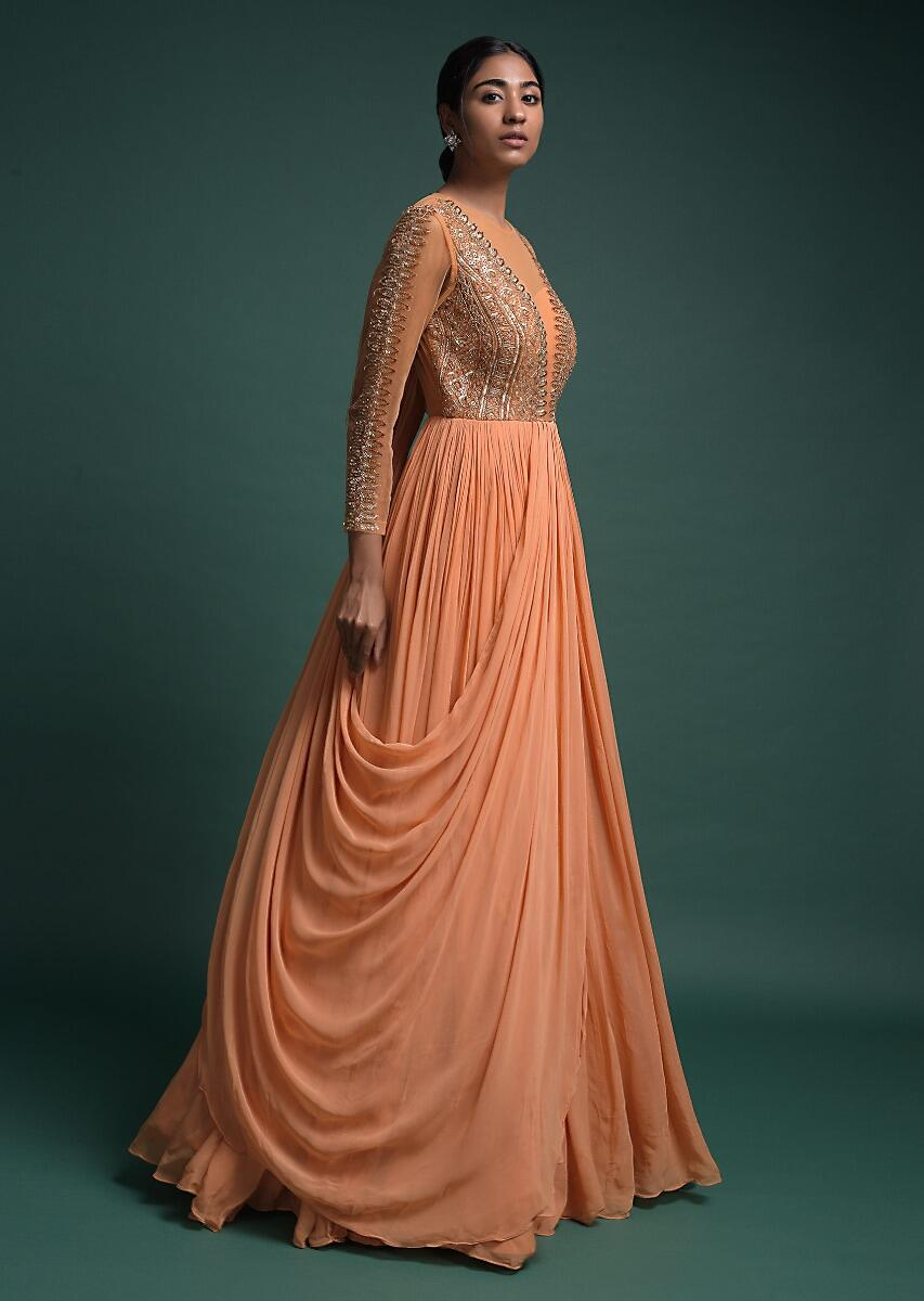 Buy Shrimp Peach Indowestern Gown In Georgette With An Attached Drape Online Kalki Fashion