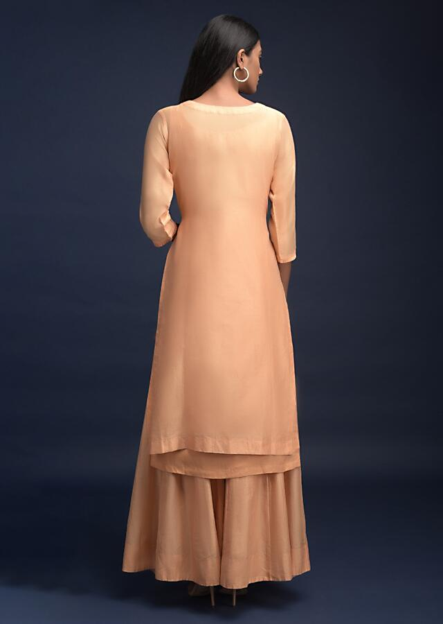 Shrimp Peach Palazzo Suit In Cotton With Thread Embroidered Floral Pattern Online - Kalki Fashion