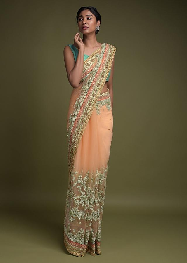 Shrimp Peach Saree In Net With Green Thread Embroidered Floral Pattern Online - Kalki Fashion