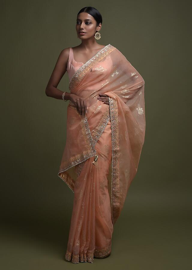 Shrimp Peach Saree In Organza With Foil Printed Floral Buttis And Gotta Lace On The Border Online - Kalki Fashion