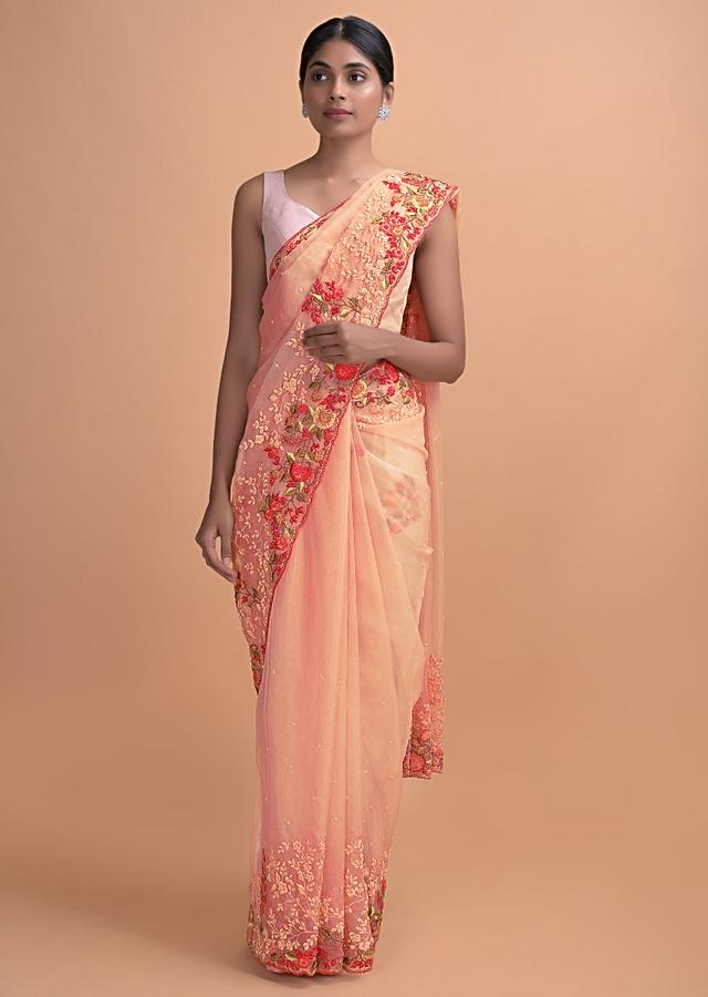 Shrimp Peach Saree In Organza With Thread And Pearls Work In Floral Pattern Online - Kalki Online