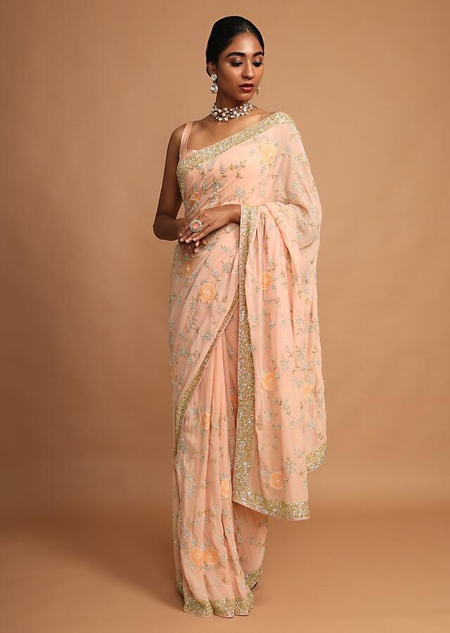 Shrimp Peach Saree In Shimmer Georgette With Appliqued Flowers And Zari Embroidered Floral Jaal Online - Kalki Fashion