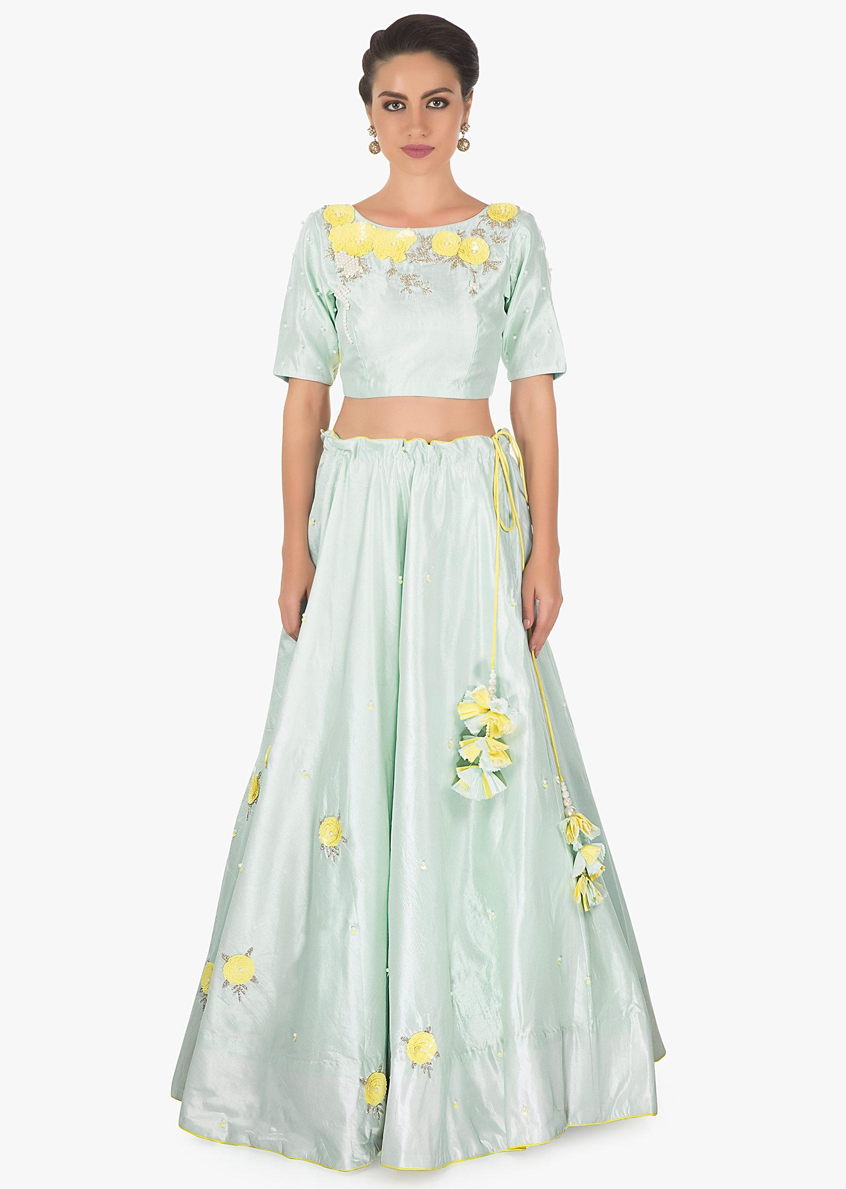 f969073e6b Mint Green silk lehenga with sequin, moti and cut dana embroidery and  floral motif matched with organza dupatta only on kalkiMore Detail