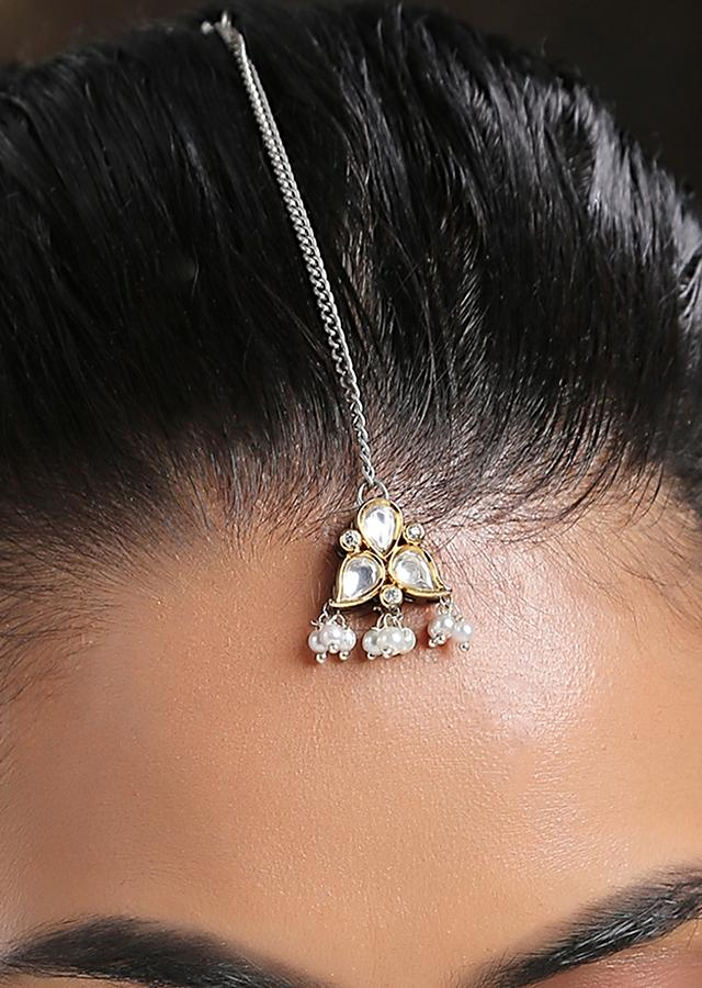 Silver And Gold Mangtika Featuring Timeless Victorian Polki And Cubic Zirconia By Paisley Pop