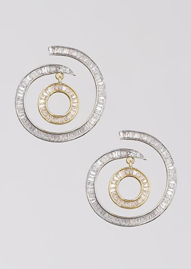 Silver And Gold Plated Studs In Spiral Motif With Dangler And Embellished With Bugle Beads Online - Kalki Fashion
