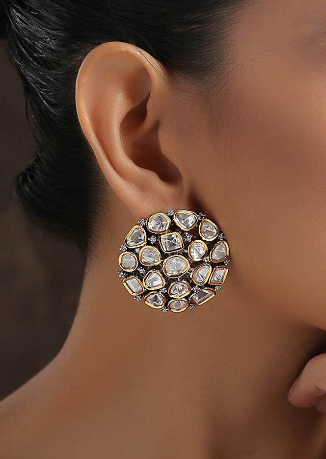 Silver And Gold Plated Studs With Polki And Small Cubic Zirconia Placed In A Round Design By Paisley Pop